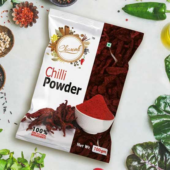 chounk chilli powder spices packaging design - محافظت و  افزایش ماندگاری محصولات غذایی با بسته بندی صحیح